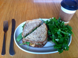 The Stevewich and a coffee with soy.