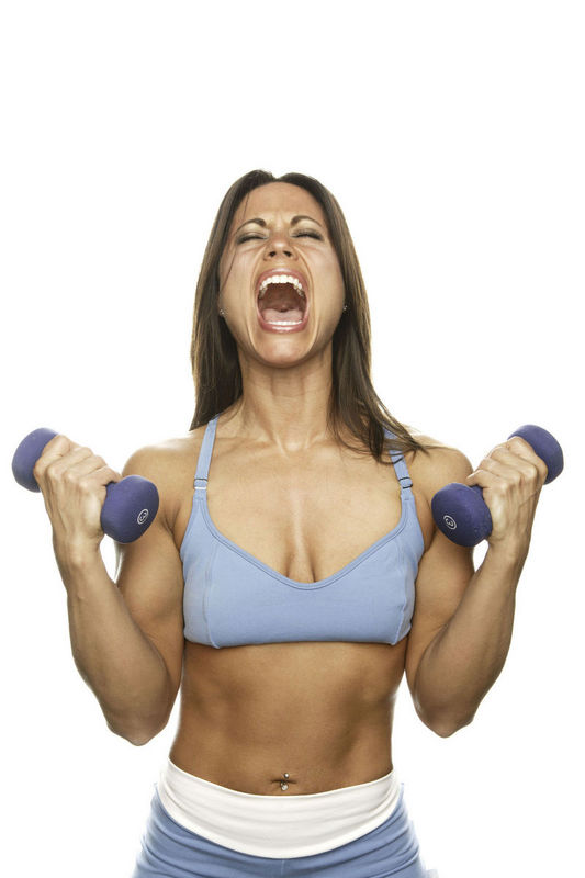 Girl with weights screaming