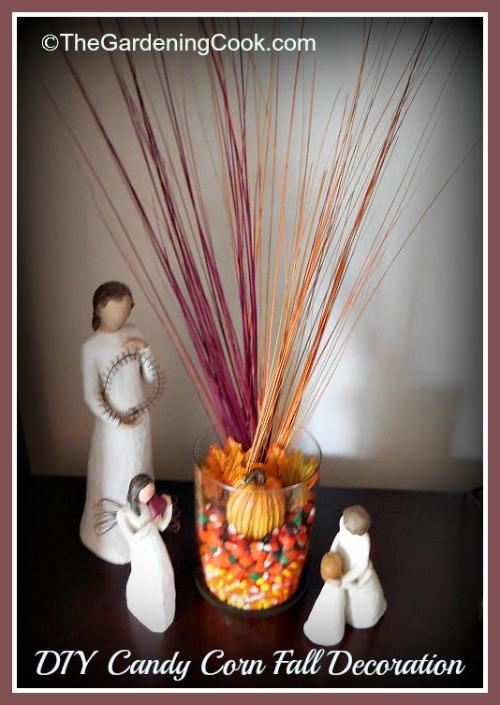 "DIY Fall Candy Corn Decoration - <a href=""https://jessexplainsitall.com/diy-candy-corn-autumn-glass/ "" target=""_blank"">Jess Explains It All </a>"