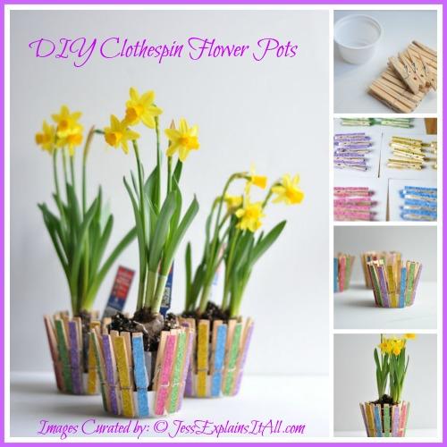 "DIY Clothespin Flower Pot - <a href=""http://jessexplainsitall.com/diy-clothespin-flower-pot/ "">Jess Explains It All</a>"