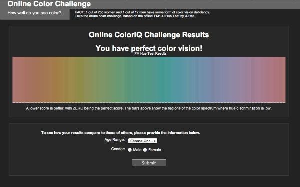 Online color test