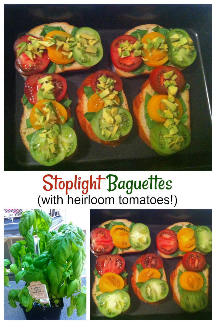 Stoplight baguette recipe made with heirloom tomatoes