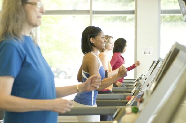Girls on fitness machines