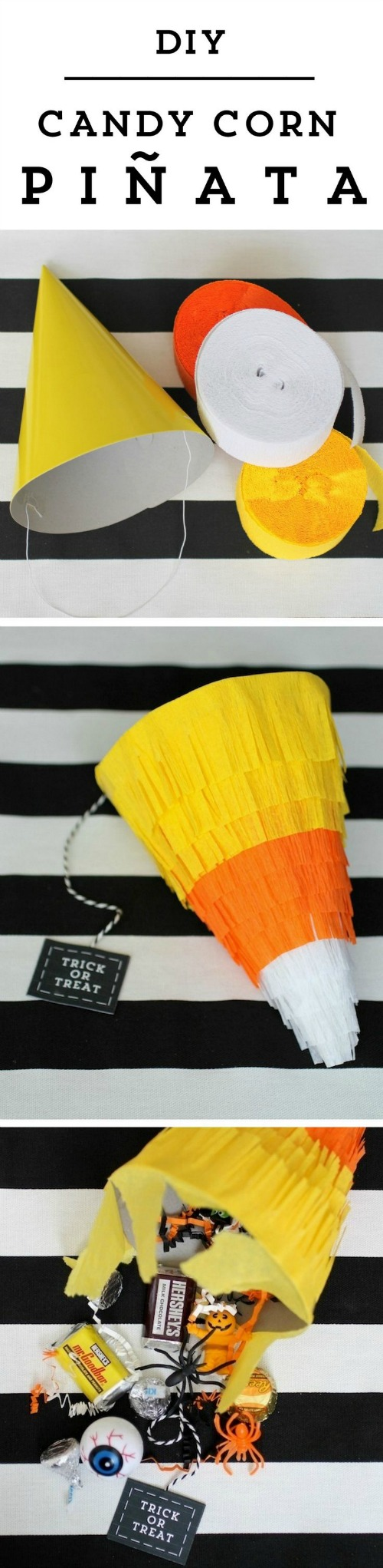 "DIY Candy Corn Piñata  - <a href=""http://jessexplainsitall.com/diy-candy-corn-pinata/"" target=""_blank"">Jess Explains It All</a>"