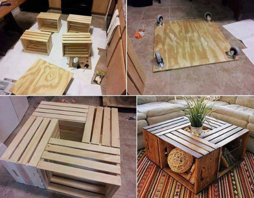"DIY Wine Crate Coffee Table - <a href=""http://jessexplainsitall.com/diy-wine-crate-coffee-table/"" target=""_blank"">Jess Explains It All</a>"