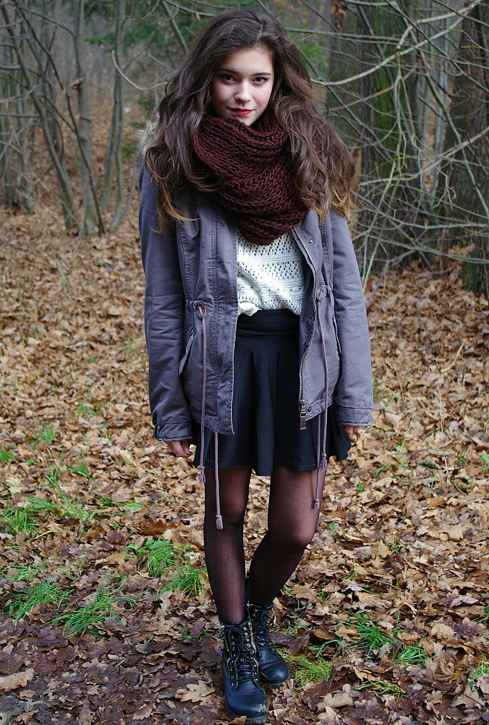 Model in a skirt in the woods - wearing skirts in winter