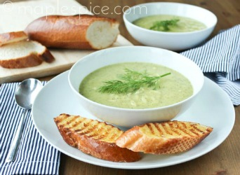 Zucchini, Lemon and Dill Soup with Orzo