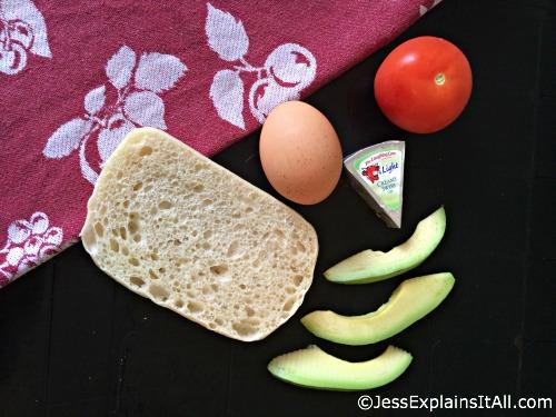 tomato, bread, egg, cheese and avocado
