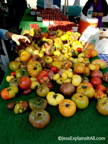 table of heirloom tomatoes