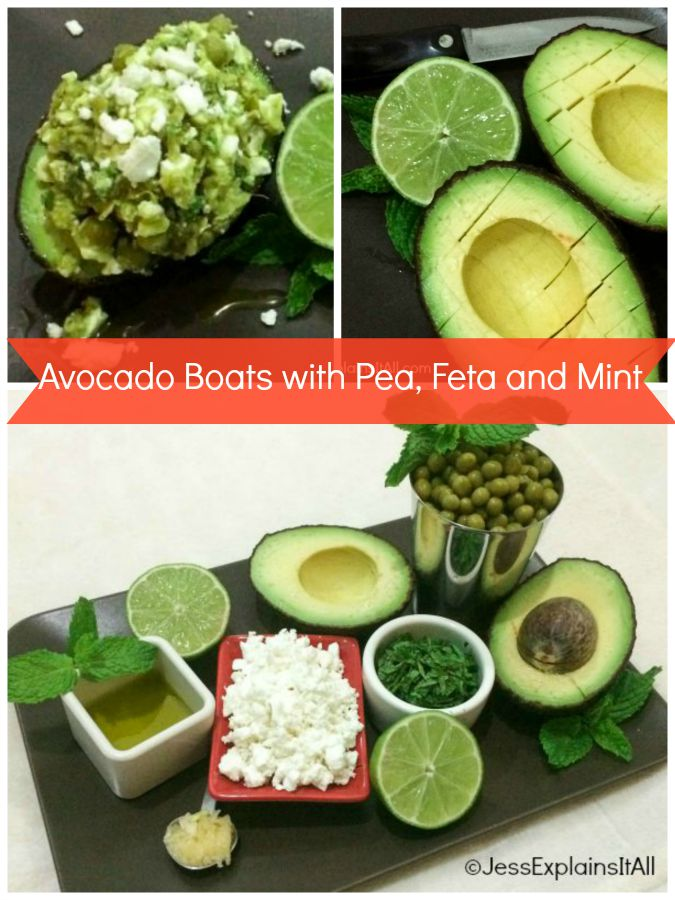 A  delicious (and healthy) recipe for Avocado Boats with Pea, Feta and Mint that can be assembled quickly with no cooking required.  This is healthy done right!  Check out the recipe at JessExplainsItAll.com