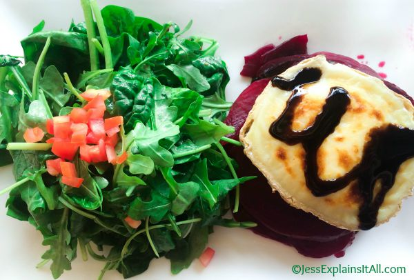 beet salad with brie goat cheese