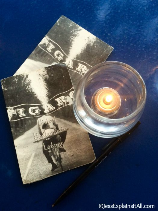 coasters at Figaro Bistrot in LA and candle