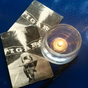 Figaro Bistrot coasters and candle