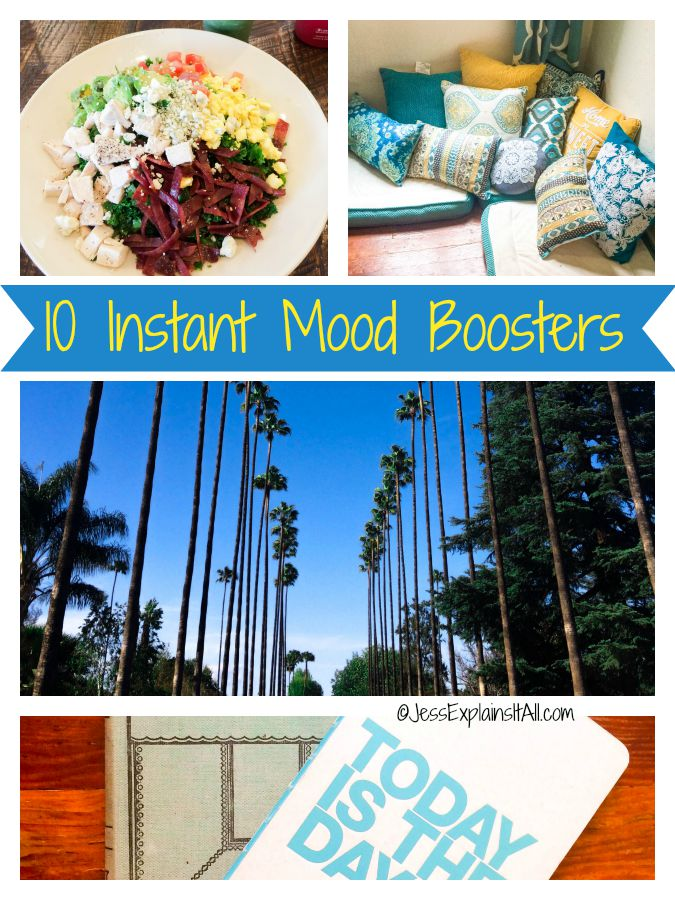 A meditation corner, journals, trees, and healthy food surround the phrase 10 instant mood boosters.