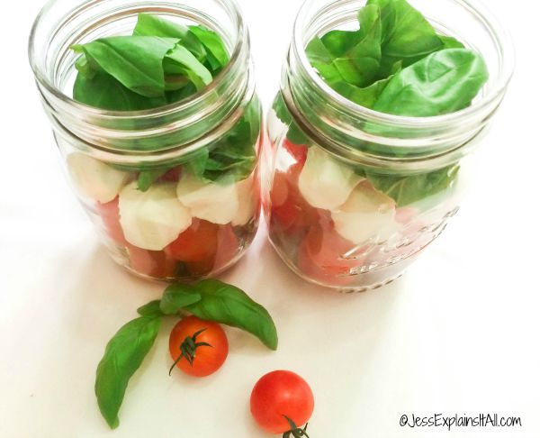 Cherry tomato Caprese salad jars