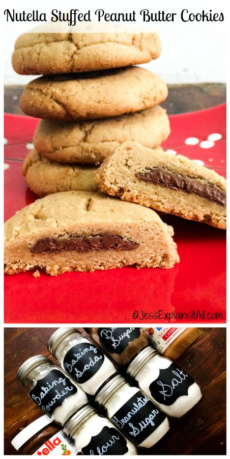 Peanut Butter and Nutella in one cookie? These Nutella Stuffed Peanut Butter Cookies are the best of both worlds!! It's impossible not to love them!