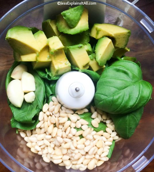 avocado, basil, garlic and pine nuts