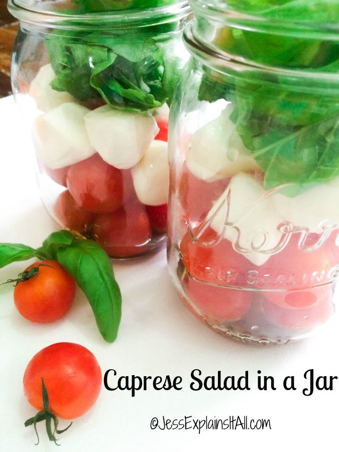 Caprese salads in Mason jars