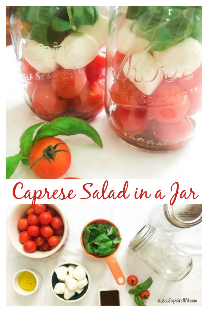 Mason Jar Lunch - Caprese Salad in a Jar