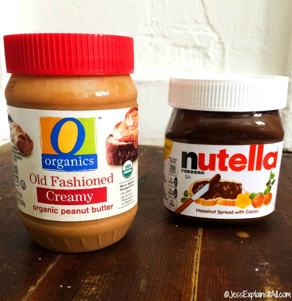 jars of peanut butter and nutella