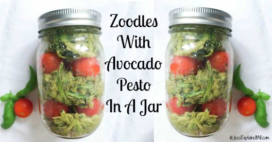 Zoodles with Avocado Pesto in a Jar