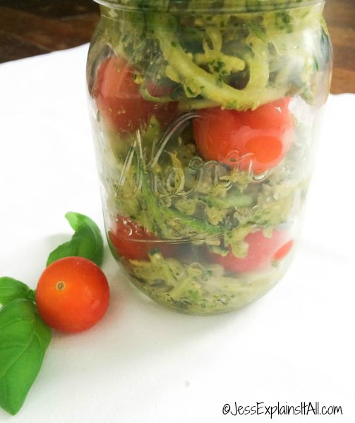 zoodles and pesto in a Mason jar