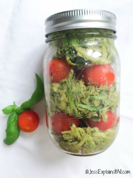 Want a light and healthy meal to bring to work? Check out my recipe for Zoodles with Avocado Pesto in a Jar. It's filling, healthy and super cute!