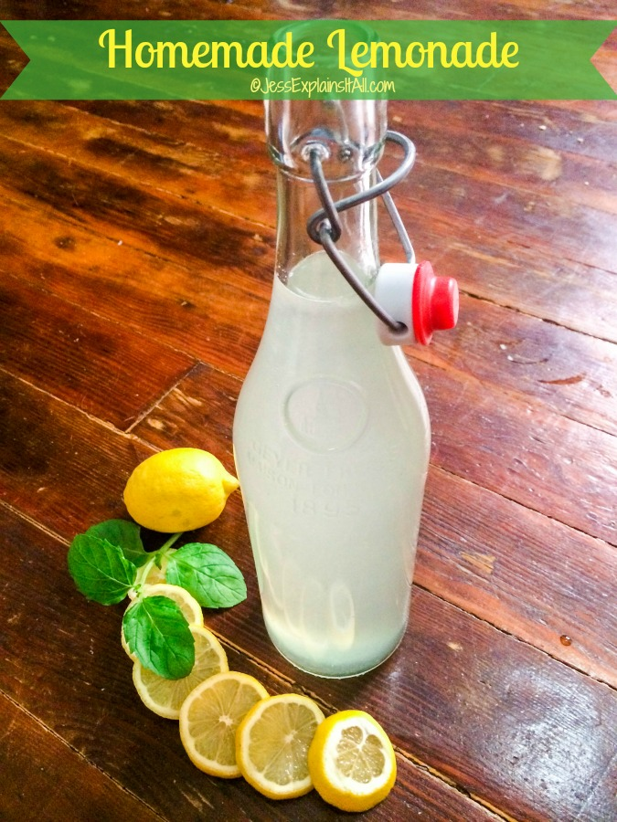 Jar of homemade lemonade with slices lemons