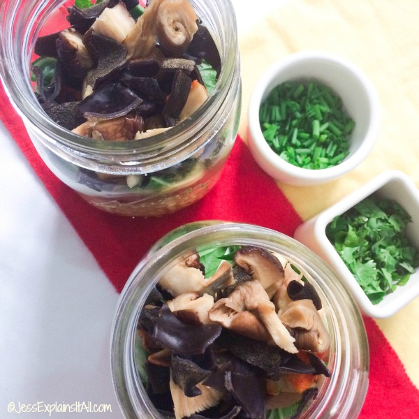 mushrooms and herbs in bowls