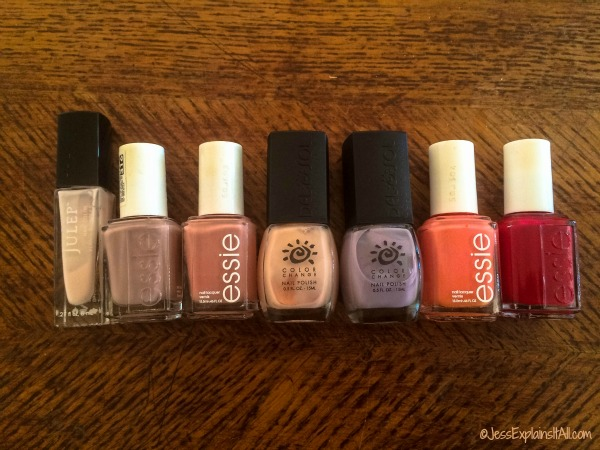 bottles of nail enamel