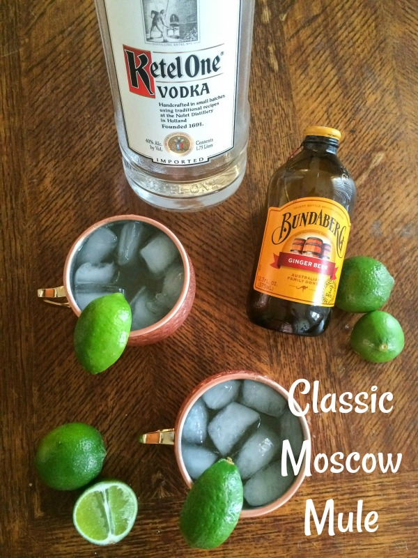 The classic Moscow Mule recipe served in a copper mug with lime