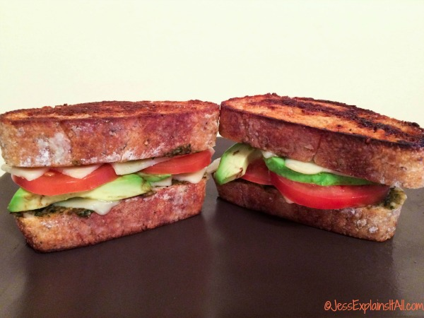 sandwich with tomatoes, avocado and cheese