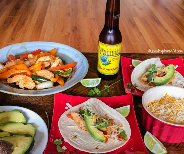 Cinco de Mayo Recipes - Bottle of beer and chicken fajitas