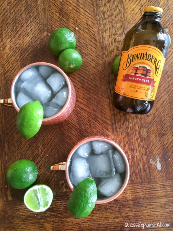 Moscow mule and bottle of ginger beer