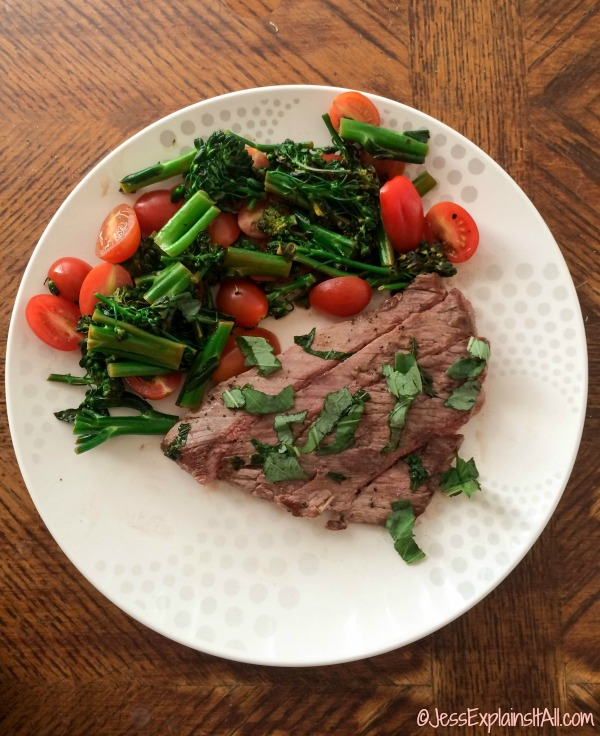 steak and broccolini