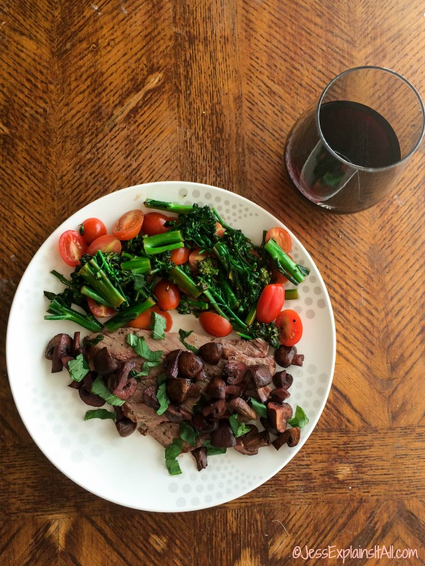 Basil steak and red wine mushrooms