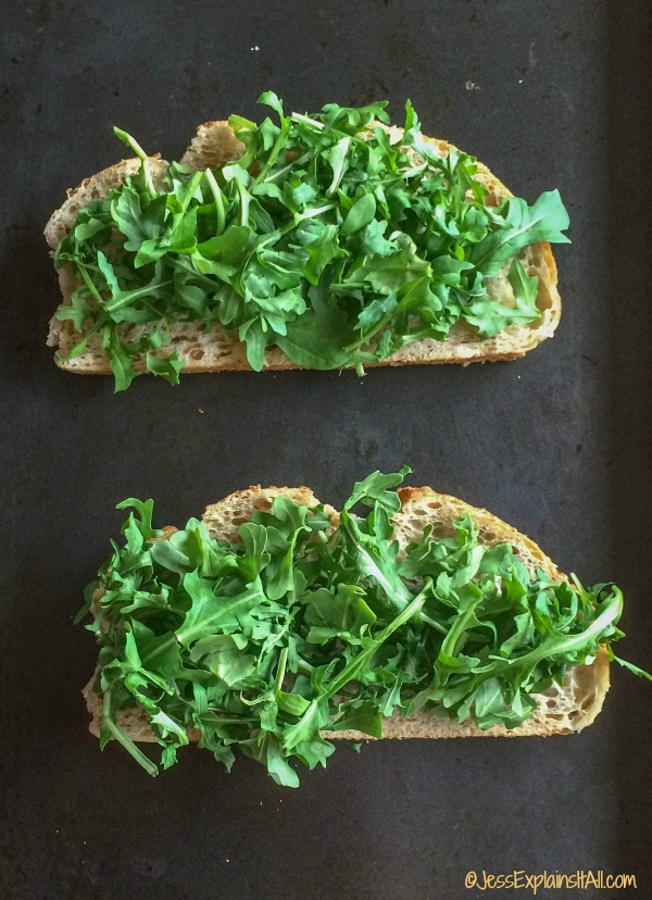 arugula on sourdough bread