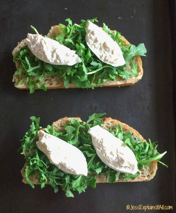 burrata cheese and arugula on sourdough bread