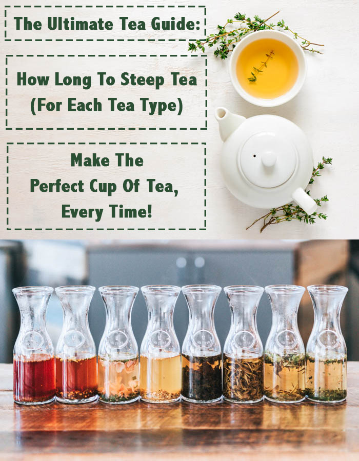 Teapot and tea carafes with a graphic detailing how long to steep tea.