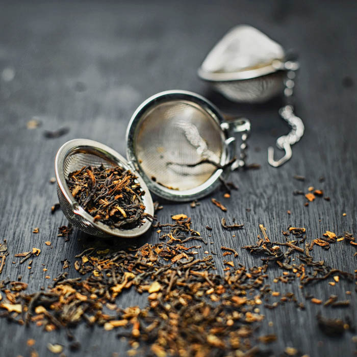 An open loose leaf tea infuser.