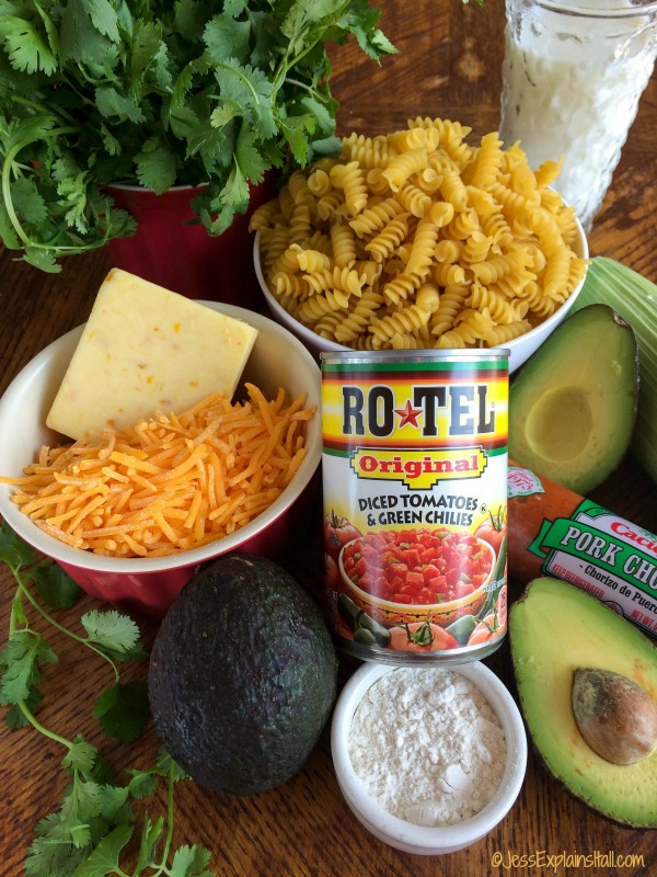 ingredients for Mexican mac and cheese