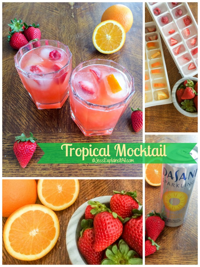 "Tropical mocktails, fruit ice cube trays, Dasani Sparkling water and fresh fruit with the text ""Tropical Mocktail""."