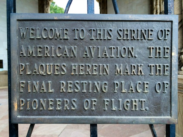 A plaque commemorating the shrine of American aviation.