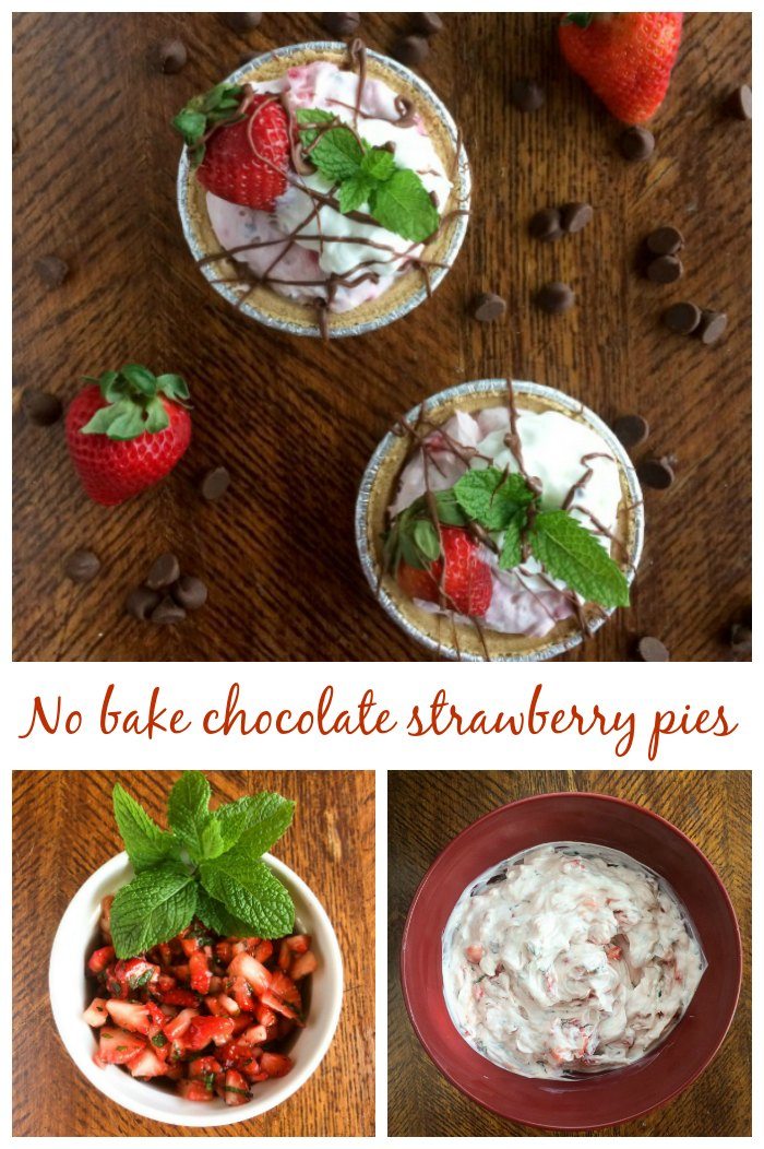 No bake chocolate strawberry pies