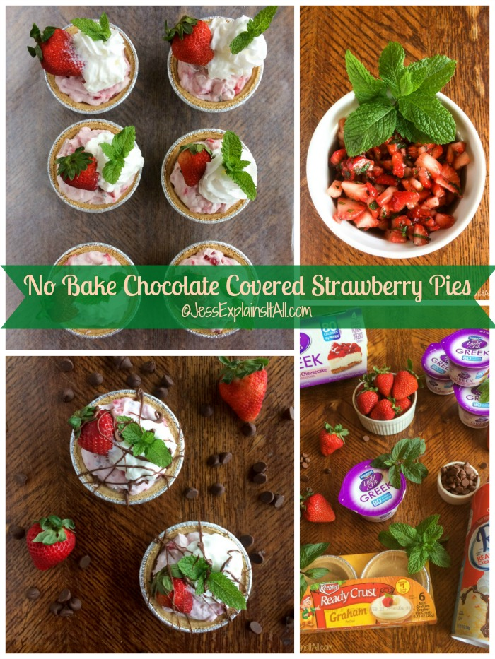 Looking for a delicious dessert that's quick & easy to make for summer? Look no further than my recipe for these no bake chocolate covered strawberry pies! #EffortlessPies #ad