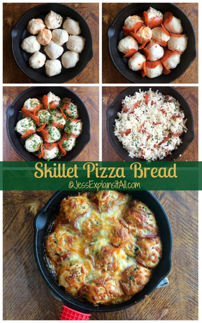 Pull apart skillet pizza bread
