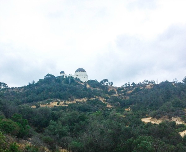 The Griffith Observatory on top of a mountain surrounded by trees.
