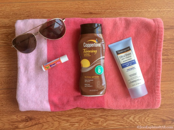 sunglasses, chap stick, sunscreen and deodorant