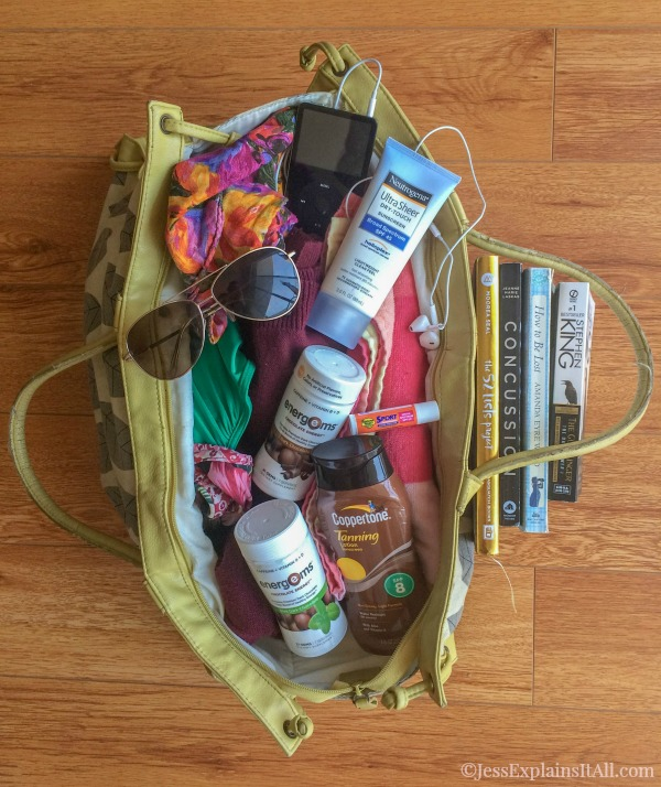 packed beach bag
