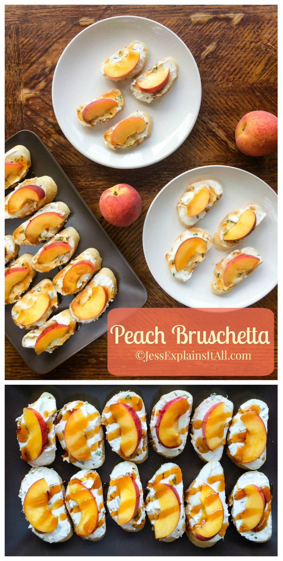 This peach bruschetta takes 10 min - making it the perfect quick & easy summer recipe! You could take it to a potluck or have it at home as a healthy snack! Check out the recipe at www.JessExplainsItAll.com #LetsCheese #CollectiveBias #ad